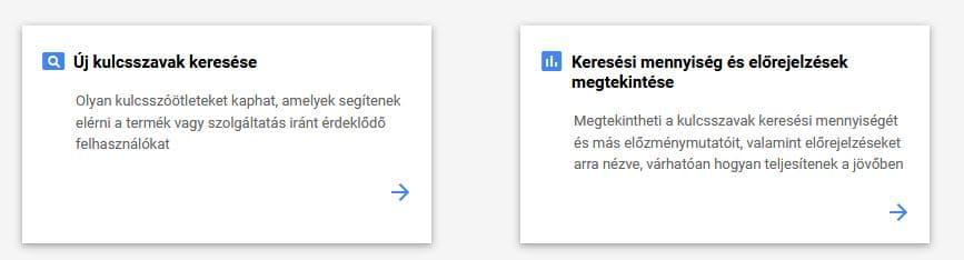 A Google Ads kulcsszótervező kezdőlapja