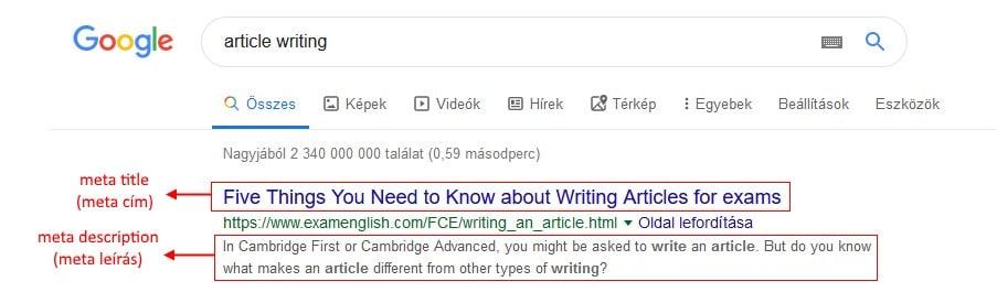 Google kereső találati listáinak két fő eleme, a meta title azaz meta cím és a meta description azaz meta leírás