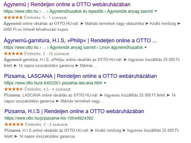Automatikusan generált webshop meta elemek az OTTO webáruházban