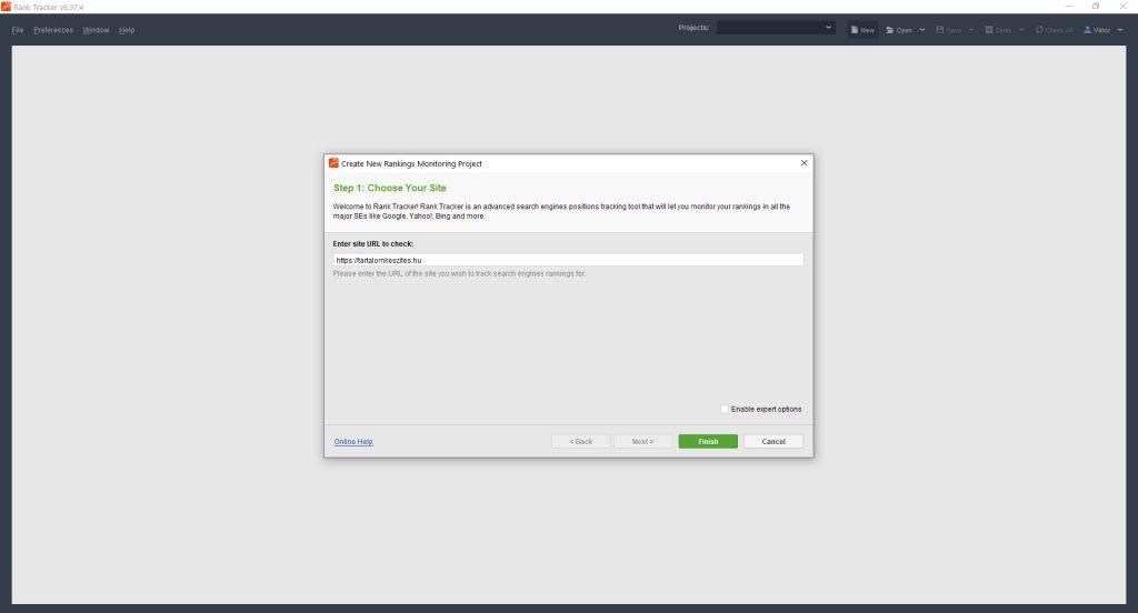 Rank Tracker új projekt hozzáadása
