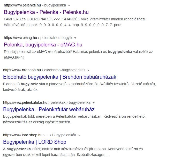 Google találati lista a webáruház keresőoptimalizálás során