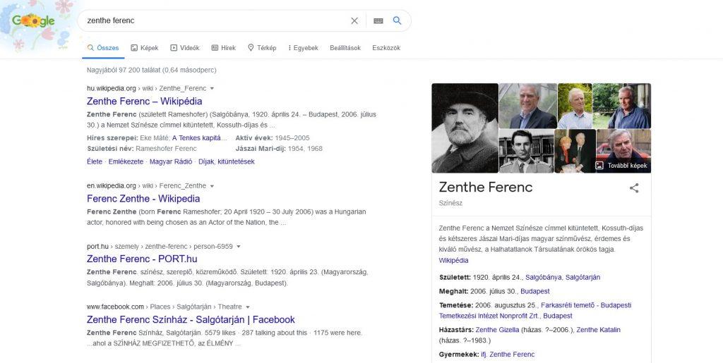 Zenthe Ferenc - Wikipédia készítés példa